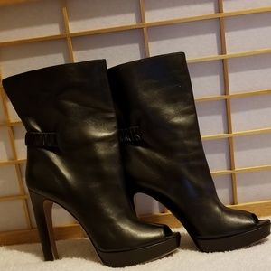 PRADA Milano Black leather high heel boots size 11